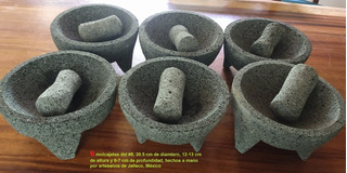 Molcajete Paquete 6 Piedra Volcánica #8, Artesanal, Jaliscos
