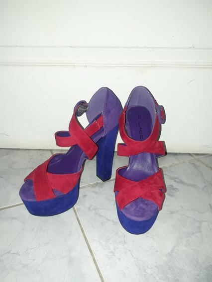 Zapatos Sandalias De Tacon Plataforma Talla 37 De Gamuza