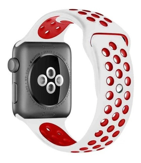 Pulseira Silicone P/ Apple Watch 38/40mm - Branco C Vermelho