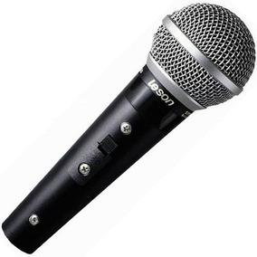 Microfone Dinâmico Leson Com Fio Sm58 Plus Preto Fosco