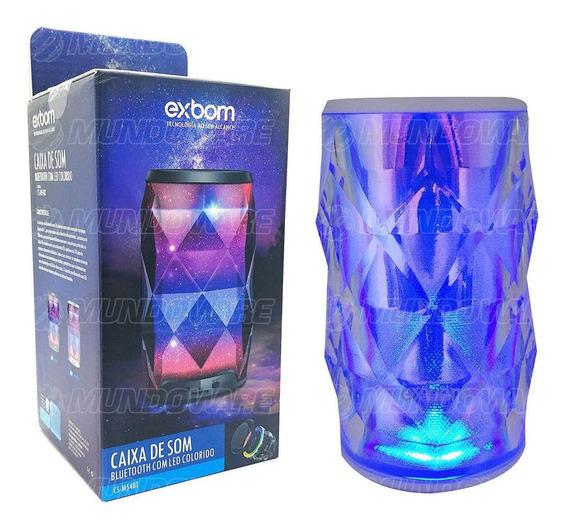 Caixa Bluetooth Design Cristal Em Led Rádio Fm Sd Mic Branca