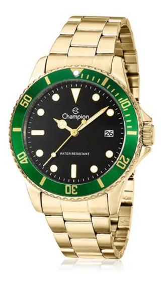 Relógio Masculino Champion Dourado E Verde Fundo Preto Data