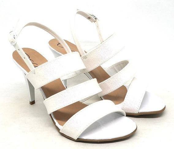 Sandálias Decora Salto Fino Cores Branca Com Gliter E Marrom