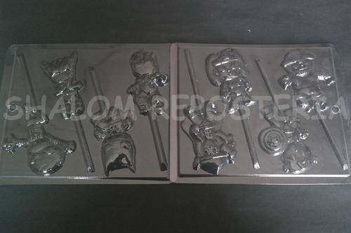 Imagen 1 de 4 de *kit 2 Moldes Paletas De Chocolate Super Heroes Cuties Pop