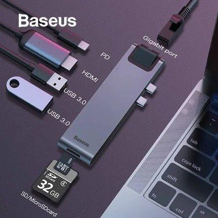 Adaptador Baseus Hub Usb Tipo C Hdmi 4k Usb 3.0 Macbook Pro