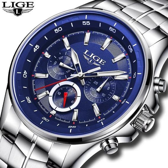 Relógio Masculino Lige Ref. 9814 30 Metros Azul Original