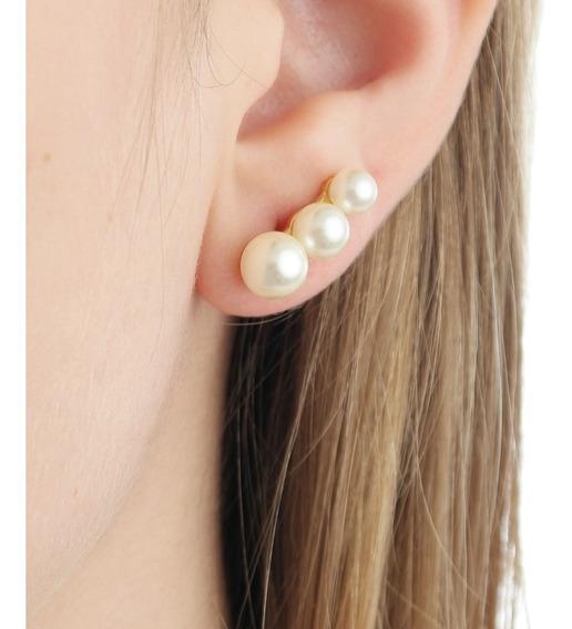 Brinco Ear Cuff Três Pérolas Semi Joia Folheada Ouro 18 Top