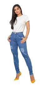 Calça Jeans Cintura Alta Super Oferta Feminina Rasgadinha