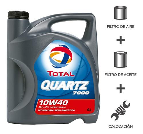 Imagen 1 de 5 de Cambio Aceite Total 7000 10w40+ F Aceite + F Aire + Coloc 4l