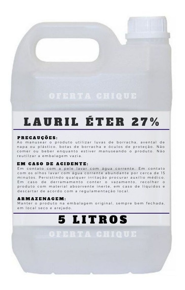 Lauril 27% Eter - 5 Litros Envio Imediato - Muita Espuma