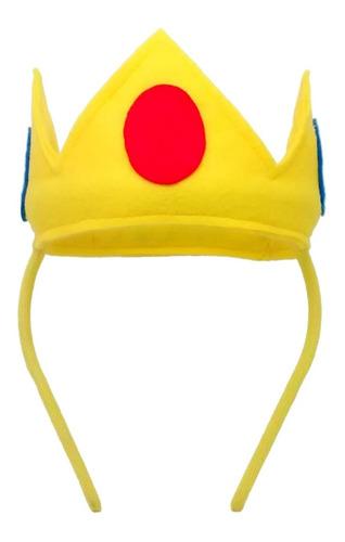 Coroa Princesa Peach Tiara/arquinho Artesanal Em Feltro P/m