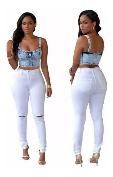 Calça Feminina Jeans Rasgada Joelho Hot Pants Cintura Alta