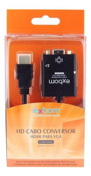 Conversor Adaptador Hdmi Para Vga Com Áudio Pc Tv Game