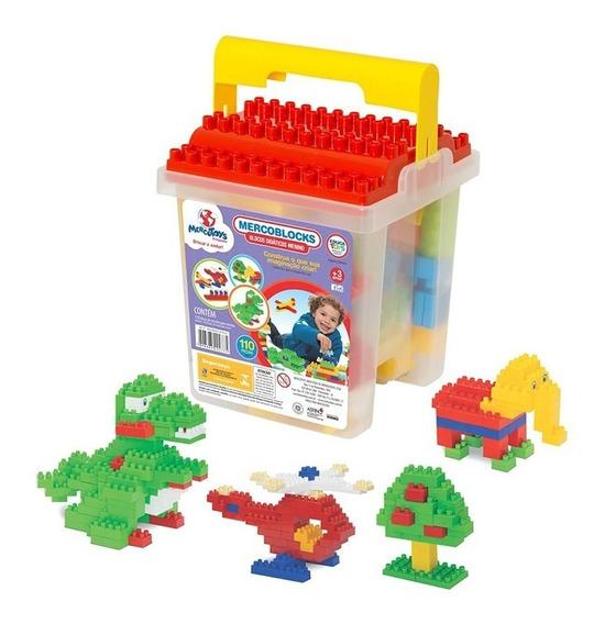 Brinquedo Educativo Blocos Montar Infantil 110 Pçs Mercotoys
