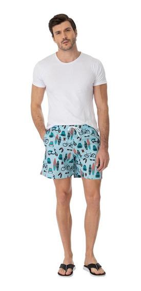 Shorts Mash Estampado Icones Praia Azul 59266
