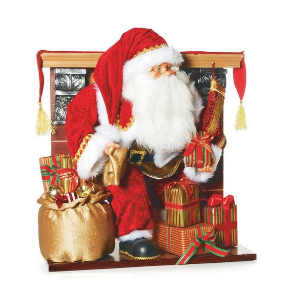 Boneco Papai Noel Na Lareira Decoração Natal 70cm Vermelho