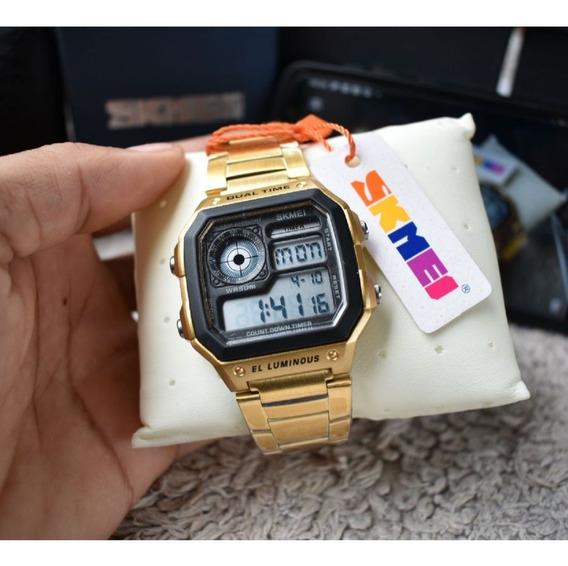 Relógio Masculino Skimei Original Dourado