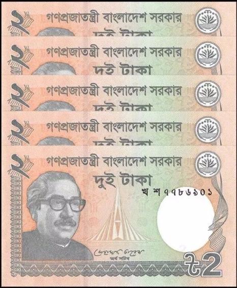 Ásia País Bangladesh 5 Cinco Cédulas Estrangeira 2 Taka Fe