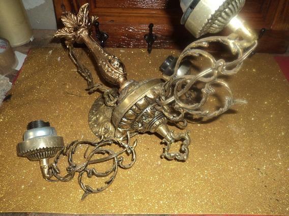 Luminaria /lustre Bronze Com 3 Braço Dobravel C/ Canopla