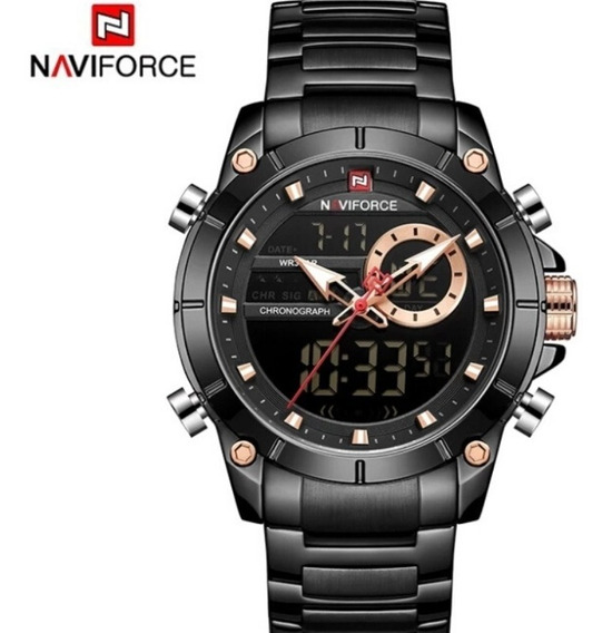 Relógio Masculino De Luxo Naviforce 9163 Analógico Digital