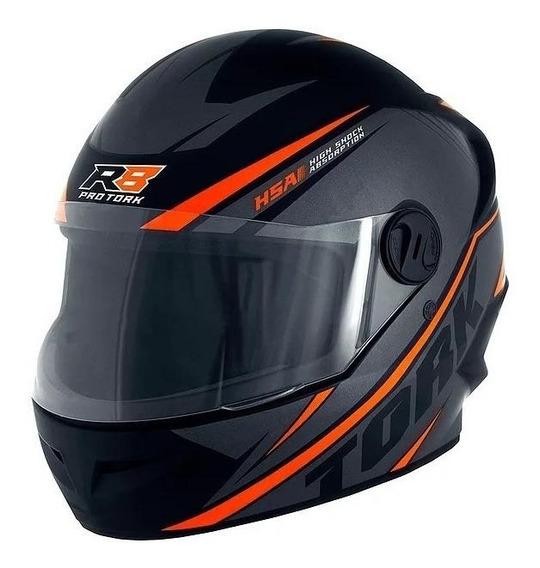 Capacete para moto integral Pro Tork R8 preto, laranja tamanho 56