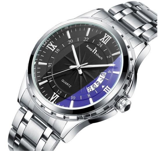 Relógio Masculino De Quartzo Noctilucente Prata