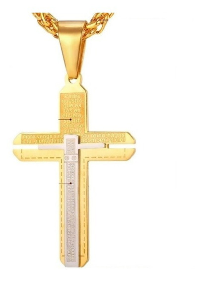 Colar Corrente Masculino Cruz Aço Inox 316l Banhado Em Ouro