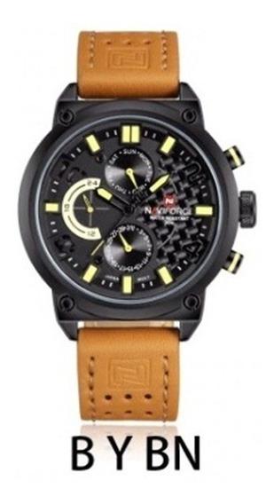 Relógio Masculino Luxo Original Naviforce Nf 9074 Couro Nfe