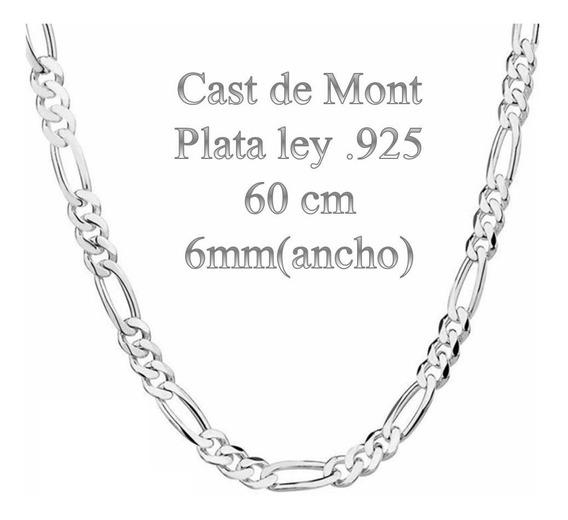 Cadena De Plata Ley .925 6mm Ancho 60cm Largo Plata 100%