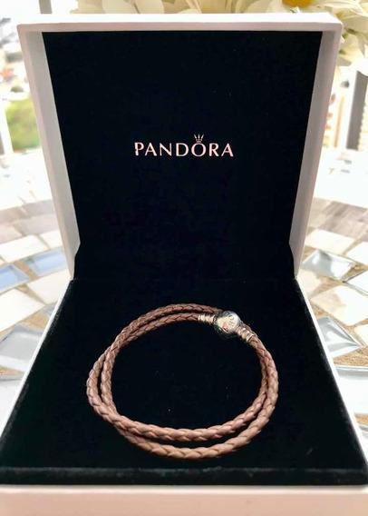 Pulseira Pandora Em Couro E Prata
