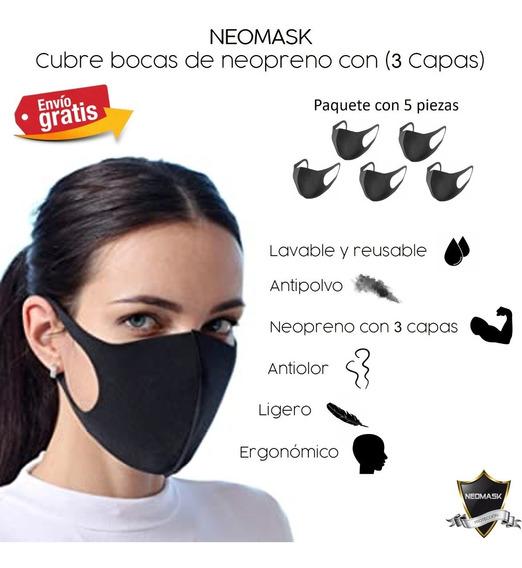 Cubrebocas Neopreno 3 Capas Tapabocas Lavable (5 Piezas)