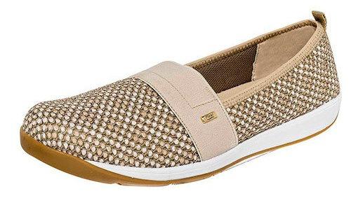 Zapato Piso Dama Flexi Beige Textil Textura C23538 Udt