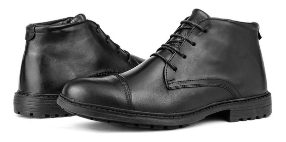 Sapato Bota Social Masculino Casual Couro + Carteira Slim