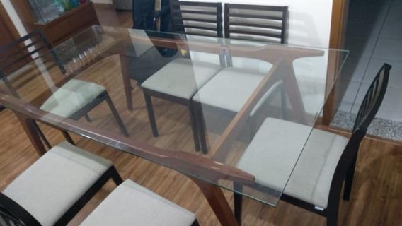 Mesa Vidro Temperado + 6 Cadeiras Tok Stok - Oportunidade!