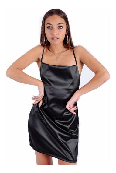 Vestido Saten Negro Rojo Rosa Tiras Espalda Moda Mujer