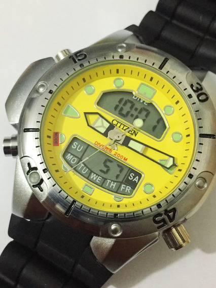 Relogio Atlantis Modelo Aqualand Amarelo 1060 Custom Citizen
