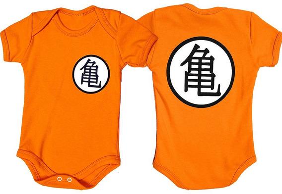 Body Bebê Uniforme Goku Kame Dragon Ball Infantil Fantasia