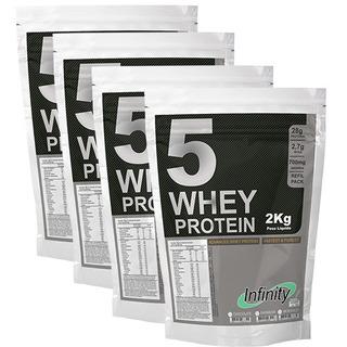 Kit 4 Wheys Protein 5w 8 Kilos Proten Wey Morango