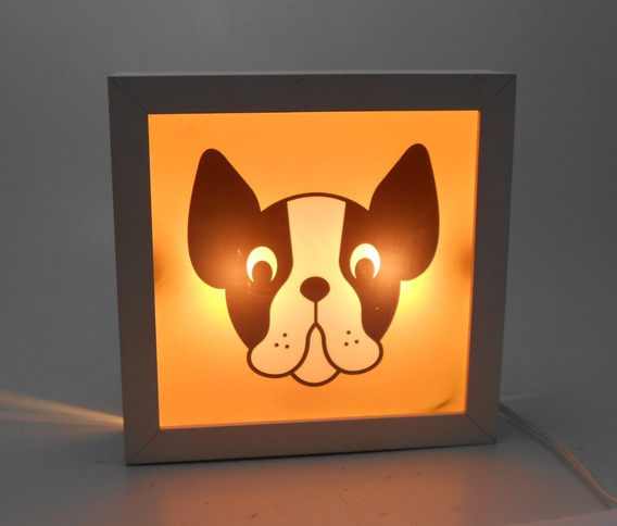 Luminária De Mesa Quadro Iluminado Cachorro