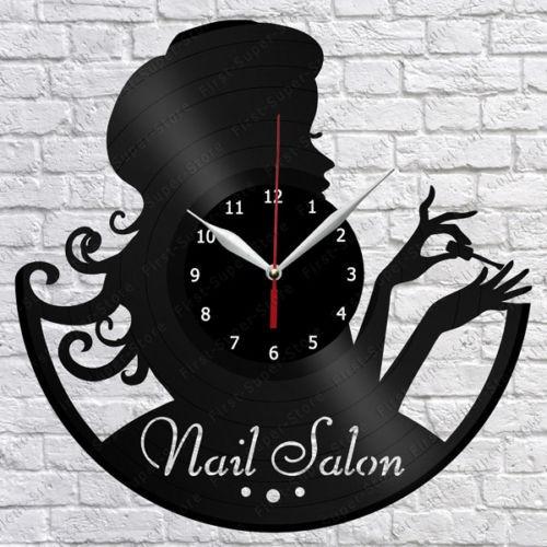 Manicure, Salão De Beleza, Relógio ,disco De Vinil, Retrô