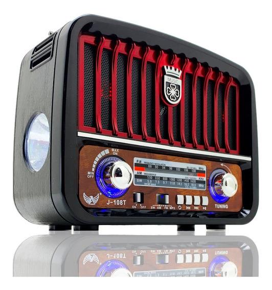 Radio Antigo Fm Am Usb Aux Sd Pendrive Lanterna Recarregável