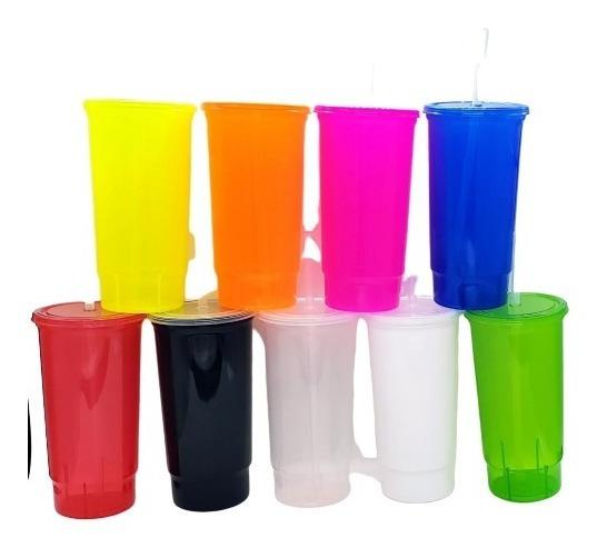 50 Vaso Neon Tapa Y Popote 32 Oz No Personalizado Termo Dulc