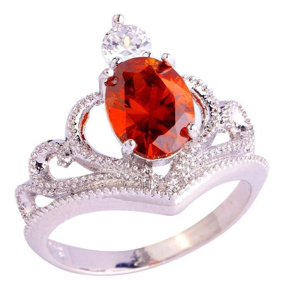 Anel Feminino King Crown Coroa Granada Aro 13 Liga Metal 105