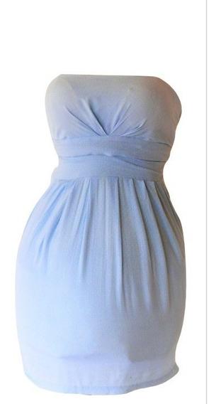 Vestido Strapless Tipo Cóctel Marca Ixia Azul Claro Puntos