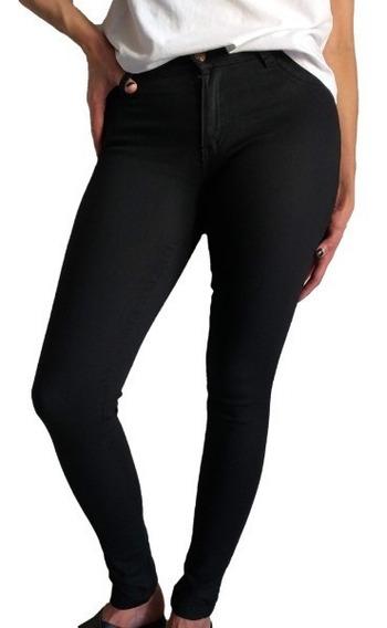 Jean Chupin Mujer Tiro Alto Elastizado Negro
