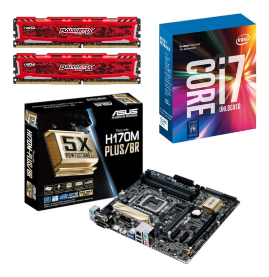 Kit Intel I7 7700k + Asus H170m Plus Br + Bl 16gb 2400