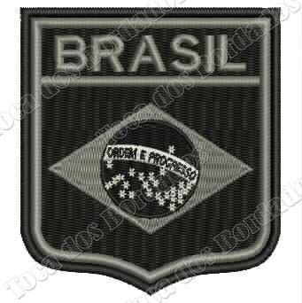 Patch Bordado Flamula Brasil Negativo 8,5x7,5cm Mlt225