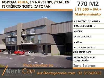 Bodega Renta 770 M2 En Nave Industrial,belenes Zapopan Norte