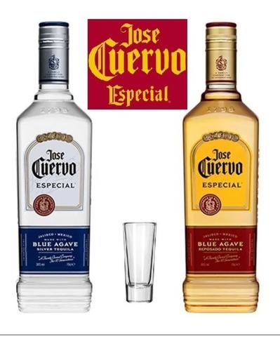 Kit 1tequila Jose Cuervo Ouro +1 Prata 750ml + Copo Brinde
