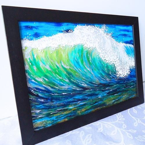 Pintura Em Vidro Brilho De Uma Onda No Mar Com Verniz Vitral